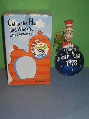 Cat in the Hat and Whozits 1998 Jingle Day Glass Ball Ornament Dr. Seuss Henson