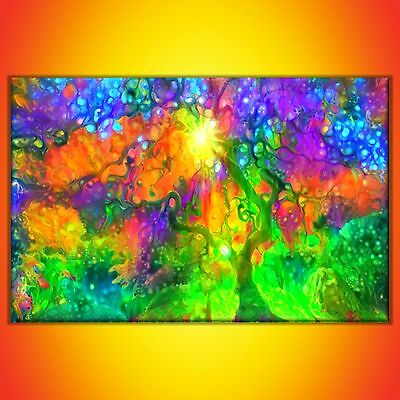 Nik Tod Original Painting Large Sign Art Textured Colorful Abstract Amazing Tree