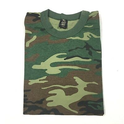Vintage 80's Green Camp Camouflage T-Shirt Medium Army 1980's Military Rare EUC