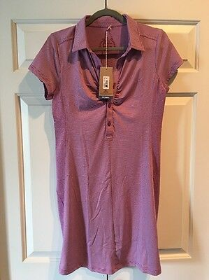 NWT prAna Women's Sz S Kinley Dress vivid viola Short Sleeves Performance