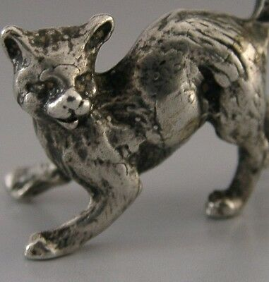 BEAUTIFUL QUALITY SOLID SILVER MINIATURE CAT / KITTEN FIGURE c1950-60