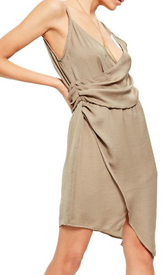 eb18a0207cd Pre-Owned Missguided Woman s Satin Chain Harness Wrap Dress Tan Size 4