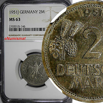 Germany - Federal Republic 1951-J 2 Mark NGC MS63 1 YEAR TYPE KM# 111