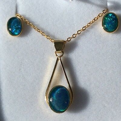 Triplet Opal Pendant And Earrings Set 925 Sterling Silver With Gold Plated