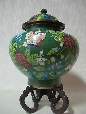 Antique Cloisonne Ginger/Temple Jar, green ground with flowers and butterflies