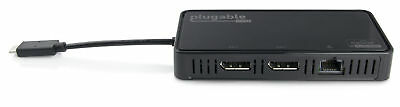 Plugable DisplayLink 4K Dual Monitor Adapter with Ethernet - USB-C to DP