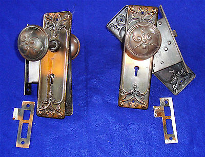 Pair of Antique Brass Entry Set Doorknobs Back Plates Latches Russell & Erwin 2