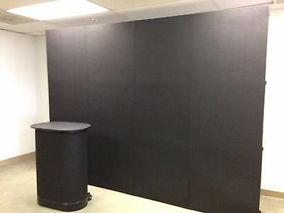 10' Pop Up Display with Velcro Fabric, 2 Spotlights & Portable Counter - Black
