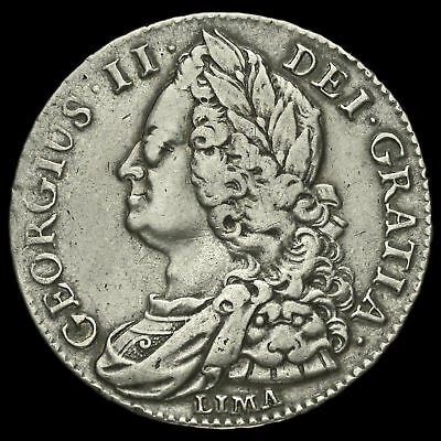 1745 George II Early Milled Silver Lima Half Crown, VF