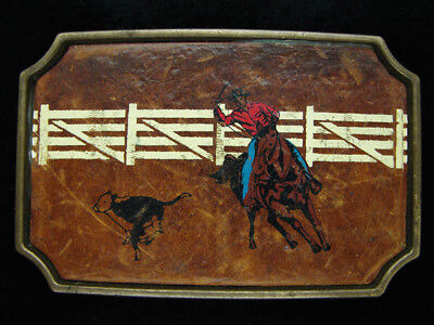 OF09139 VINTAGE 1970s **CALF ROPING** RODEO LEATHER SOLID BRASS BTS BUCKLE