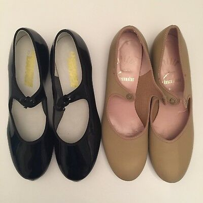 Womens Tan Tap Shoes Size 8 Black & Patent Leather Size 7.5 Ribbon Tie Style LOT