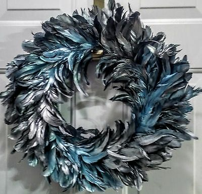 "NWT Lush Feather Wreath by Robert Stanley - 18.50"" Shiny Blue Feathers"