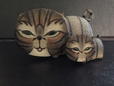 The Harvey Knox Collection Hand Painted Large Flat Faced Cat and Kitten ~ Japan