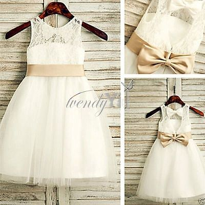 Flower Girl Dress Party Princess Vintage Wedding Kids Birthday Formal Gown Dress