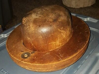Vintage 2 Pc Wooden Hat Form Mold Block & Brim Bowler Fedora Millinery 6 7/8