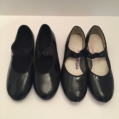 Black Patent Leather Tap Shoes Girls Size 3.5 & 4 (Womens 5.5 & 6) LOT OF 2 PAIR