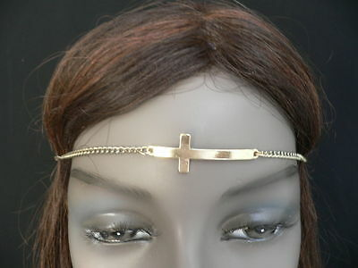Women Girls Gold Metal Cross Head Band Chain Religious Circlet Fashion Jewelry