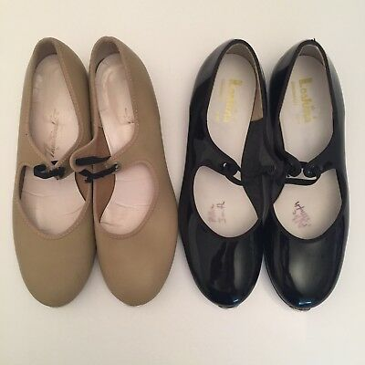 Womens Black Patent Leather & Tan Tap Shoes Size 6.5 (Girls Size 4.5) 2 PAIR LOT