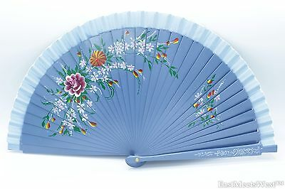 Quality Spanish Flamenco Vintage Hand Painted Wooden Folding Hand Held Fan