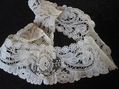 Antique Victorian Edwardian Bobbin Brussels Duchesse Ivory Mixed Lace Collar