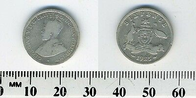 Australia 1925 - Sixpence Silver Coin - King George V - #9