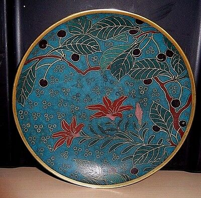 Chinese Brass & Cloisonne Turquoise Lily Flower & Privet Fruit Tree Design