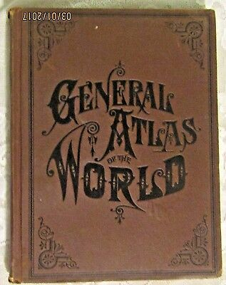 1800's RAND MCNALLY  Antique World Atlas ///  CHICAGO Continental Publishing Co.