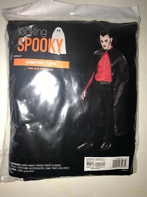 Looking Spooky Adult Vampire Black Cape Costume Accessory Halloween OS