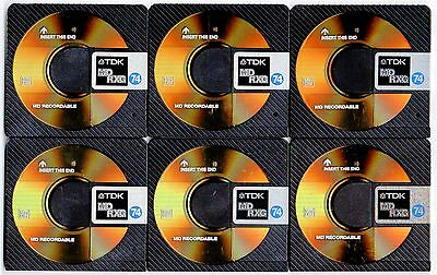 Six (x6) pre-owned 74 minute re-recordable TDK RXG MiniDiscs        Free Post