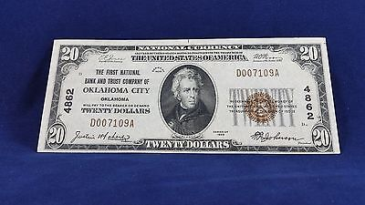 "1929 $20 National Currency Ty-1 ""oklahoma City , Ok "" !!"