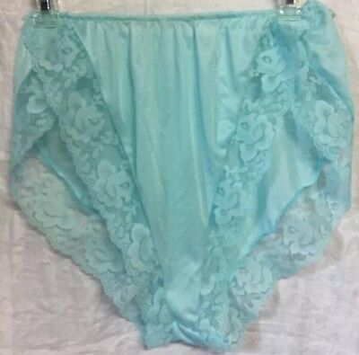 Vintage Nylon & Lace Mint Green Panties Size Medium High Cut Tap Panties