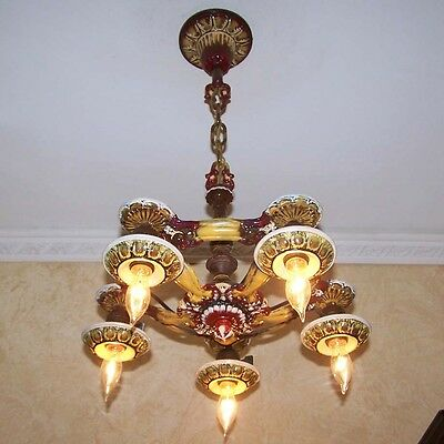 992 Vintage 1920s 30s aRT NOuveau Ceiling Light lamp fixture chandelier 5 Light