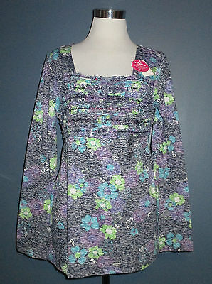 NWT JUSTICE Girls Size 20 Purple Floral Long Sleeve Sequin Embellished Top Shirt