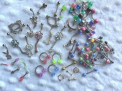 Bulk Lot Assorted Body Jewellery Over 300 Pieces + 60 Free Rhinestone Nose Studs