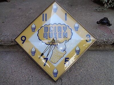 "Vintage Pam ""dairy Queen"" Diamond Lighted Advertising Clock Works/lights/good"