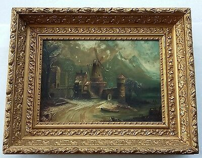 Antique Victorian Oil on Canvas Painting, Tower, Lake, Mountains, Orig. Frame.