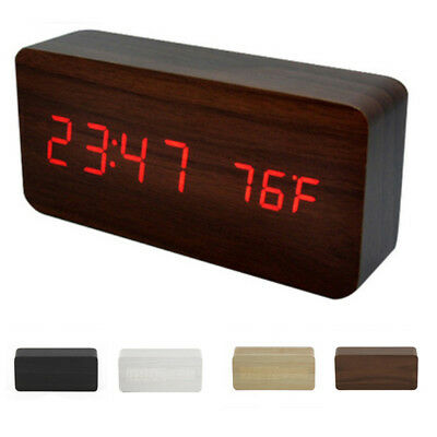 Modern Wooden Wood USB/AAA Digital LED Alarm Clock Calendar Thermometer Décor