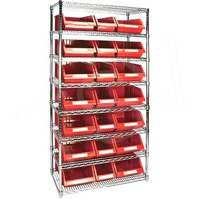 "8 Shelves Stackable Storage Shelving Units With Red Plastic Bins 36"" x 18"" x 74"""