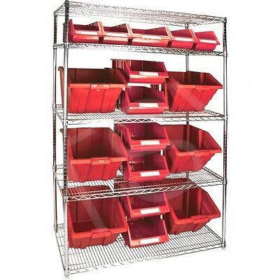 "5 Shelves Stackable Storage Shelving Units With Red Plastic Bins 48"" x 24"" x 74"""