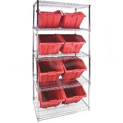 "5 Shelves Stackable Storage Shelving Units With Red Plastic Bins 36""x24""x74"""