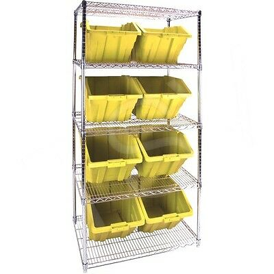 "5 Shelves Stackable Storage Shelving Units With Yellow Plastic  Bins 36""x24""x 4"""