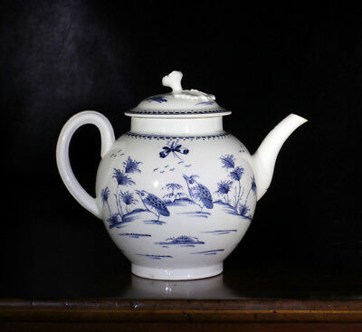 Worcester blue & white teapot, 'Two Quail' pattern, c.1770
