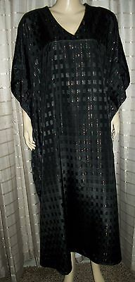 Sante` Classics Blk W Gold Threads  Kaftan Mumu Caftan Lounge Dress Nwot 1 Sz