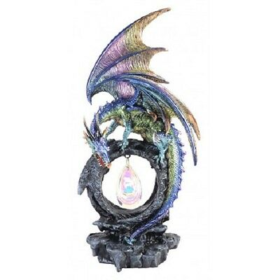 Crystal Water Dragon Statue With Crystal Statue Figurine Ornament - Purple