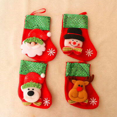 Christmas Stockings Cute Sock Gift Bag Filler Deer Snowflake Xmas Decoration