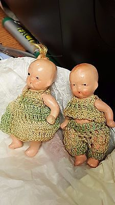 Vintage All  Bisque Small Japan Japanese Asian Boy & Girl  Dolls