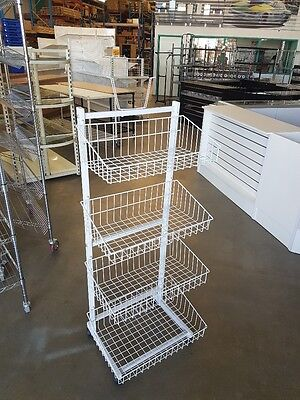 White 4 tier basket stand on castors grocery store shelves shelving