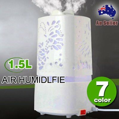 1.5L Ultrasonic Air Humidifier Diffuser Purifier Aroma Nebulizer Changing LED OP