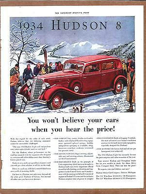 1934 HUDSON  Vintage Promo Color Car Ad