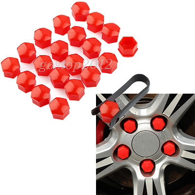 20x 17mm Vehicle Wheel Nut Lug Bolts Cover Cap Red + Temoval Tool For 3&5 Door